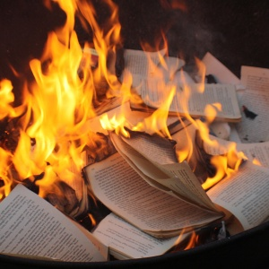 burning paper books censorship