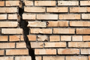 wall cracked bricks fall
